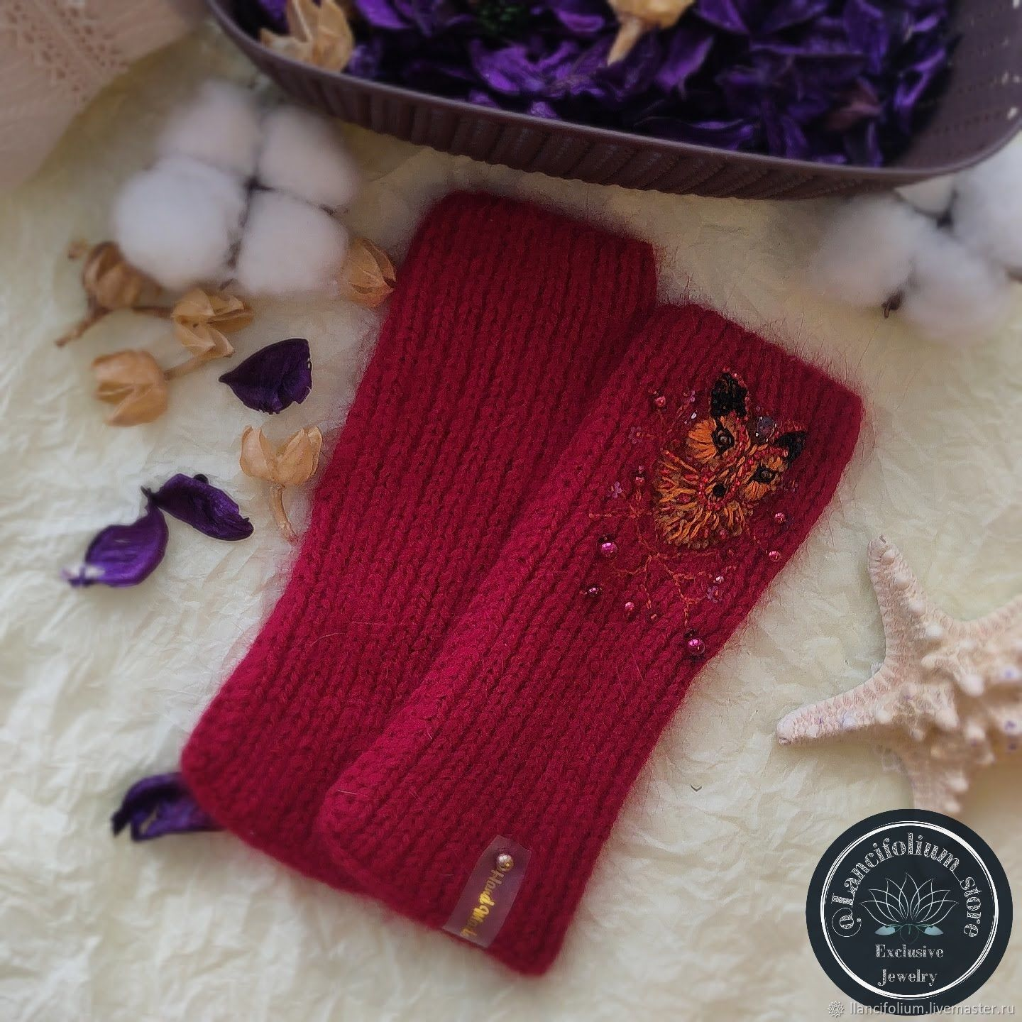 Red mink down mitts with fox embroidery, Mitts, Krasnoyarsk,  Фото №1