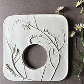 Картины и панно handmade. Livemaster - original item Photo frame (18,5h18,5cm) Gypsum Botanical panels of Bas-relief. Handmade.