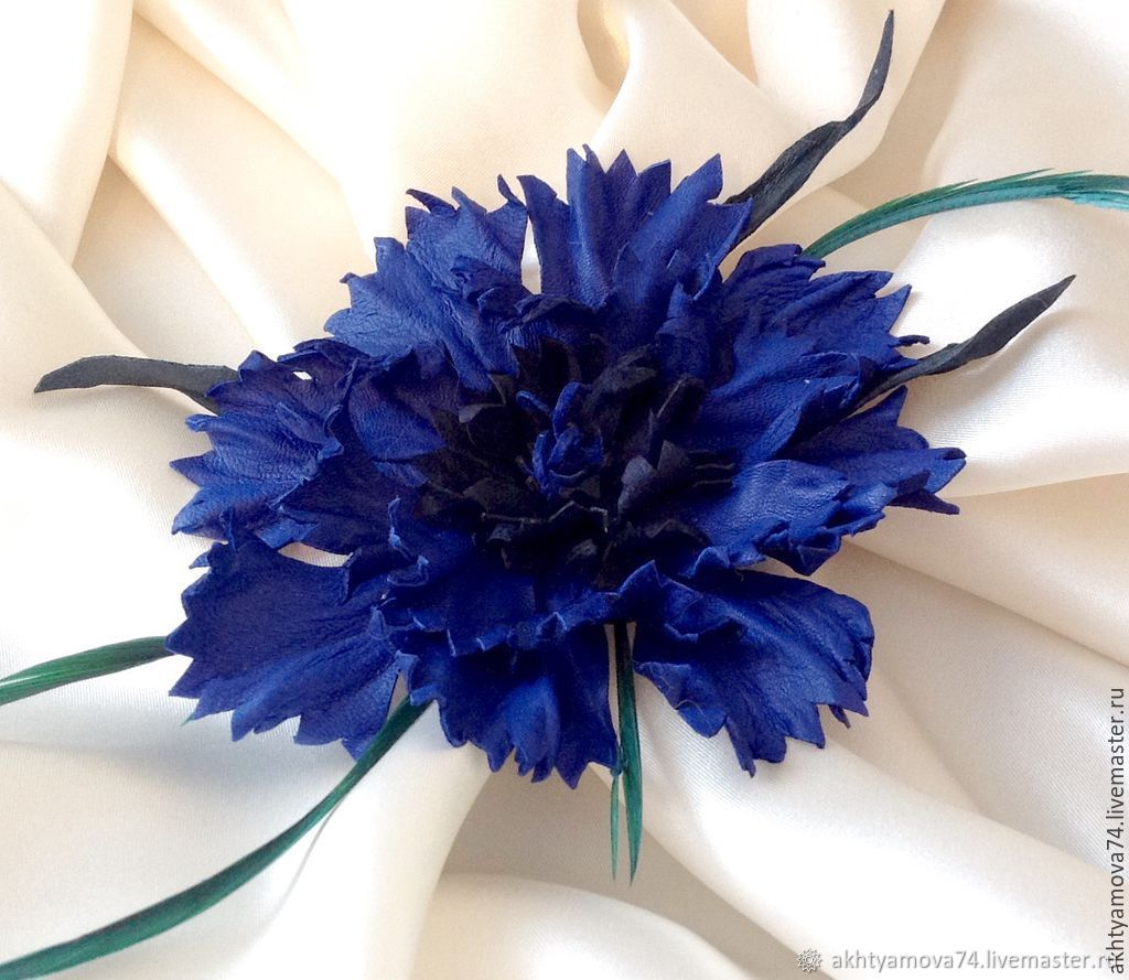 Brooch made of leather Cornflower, Brooches, Moscow,  Фото №1