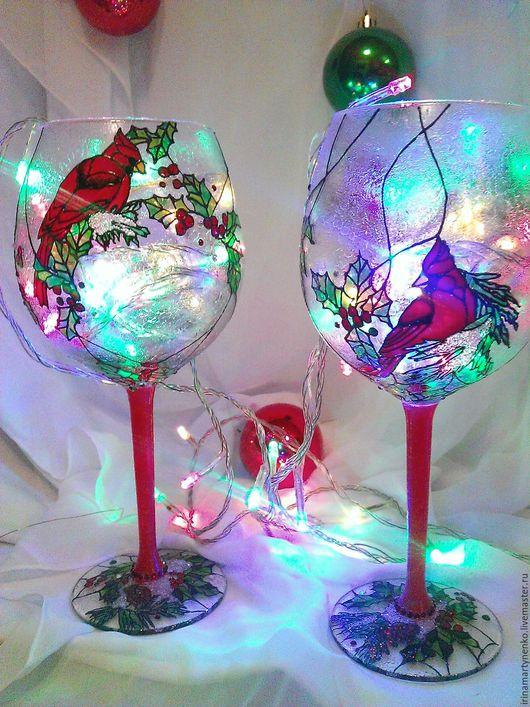 Рождественские бокалы. Подарок на Новый год и рождество. Подарок на годовщину