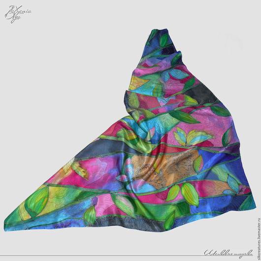 """Шали, палантины ручной работы. Ярмарка Мастеров - ручная работа. Купить """"Бабочки в тропическом лесу"""" шелковый платок с рисунком батик. Handmade."""