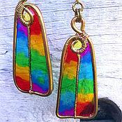 "Earrings handmade. Livemaster - original item Серьги ""Радуга туда и обратно"", медь, пластик. Handmade."