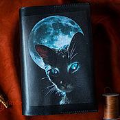 Канцелярские товары handmade. Livemaster - original item Covers:The book cover in A5. Black cat in the night.. Handmade.