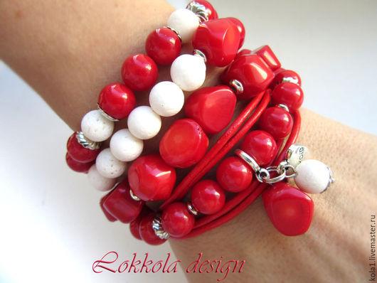 Браслеты ручной работы. Ярмарка Мастеров - ручная работа. Купить Красный коралл. Handmade. Ярко-красный, браслет, подарок