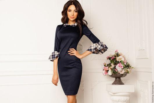 """Платья ручной работы. Ярмарка Мастеров - ручная работа. Купить Платье """"Тиффани"""". Handmade. Тёмно-синий, платье в офис"""