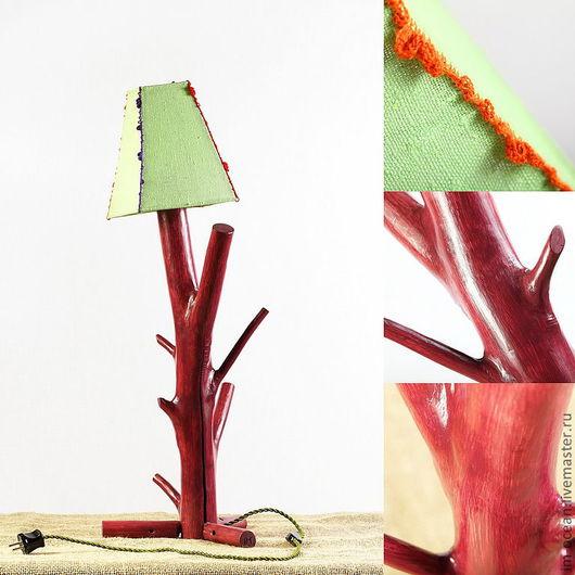 Освещение ручной работы. Ярмарка Мастеров - ручная работа. Купить Настольная лампа / ночник. Handmade. Фуксия, бордовый, лён