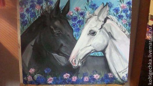 """Картина. Ю Инь- Янь"""" - это не просто картина, это закон противоположностей.Инь и янь - это обозначение двух основных и противоположных видов энергий... Первое фото, белая лошадь с короткой гриво"""