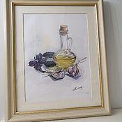 Картины ручной работы. Ярмарка Мастеров - ручная работа Акварель чеснок и базилик. Handmade.