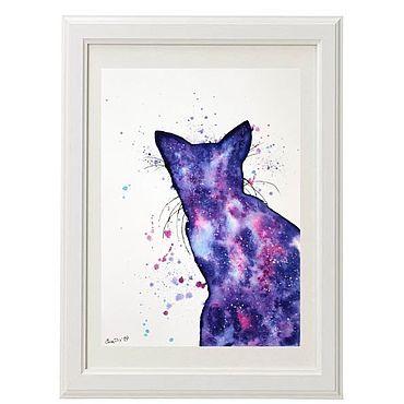 Картины и панно ручной работы. Ярмарка Мастеров - ручная работа Картина акварелью Космический кот. Handmade.