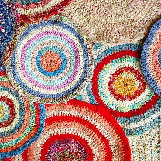 Текстиль, ковры ручной работы. Ярмарка Мастеров - ручная работа. Купить Ковры разноцветные из 100 х/б. Handmade. Бабушка, вязание