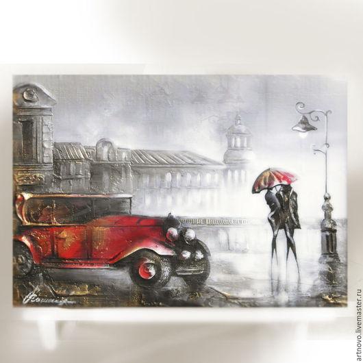 Город ручной работы. Ярмарка Мастеров - ручная работа. Купить Картина маслом на холсте Свидание на мостовой  Картина масло живопись. Handmade.