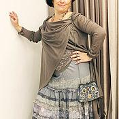 Одежда ручной работы. Ярмарка Мастеров - ручная работа Живописная серая,шелковая,многоярусная ,длинная бохо юбка.. Handmade.