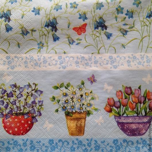 Нежно-голубые фоны-элементы (кашпо, цветочки ит.д.)-208 Салфетка для декупажа. Очень красивая! Декупажная радость