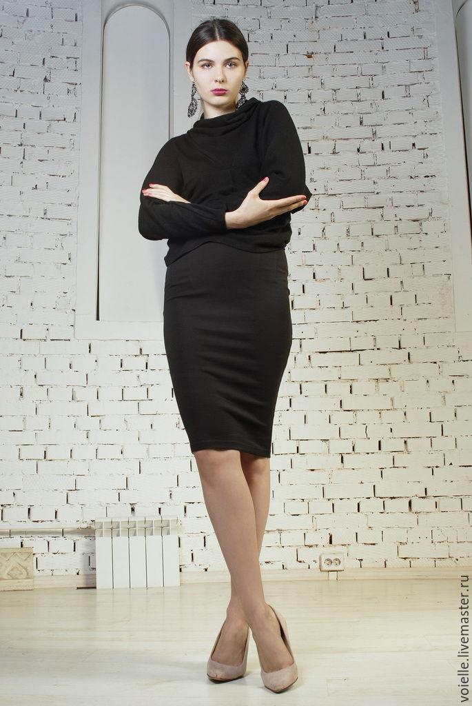 Трикотажная юбка карандаш миди купить в