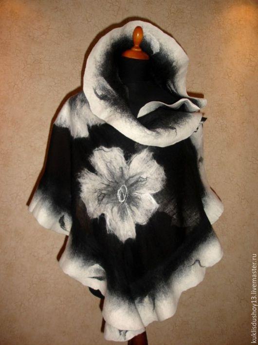 Шали, палантины ручной работы. Ярмарка Мастеров - ручная работа. Купить Палантин валяный черно-белый Классика. Handmade.