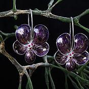 Украшения ручной работы. Ярмарка Мастеров - ручная работа серьги фиолетовые орхидеи. Handmade.