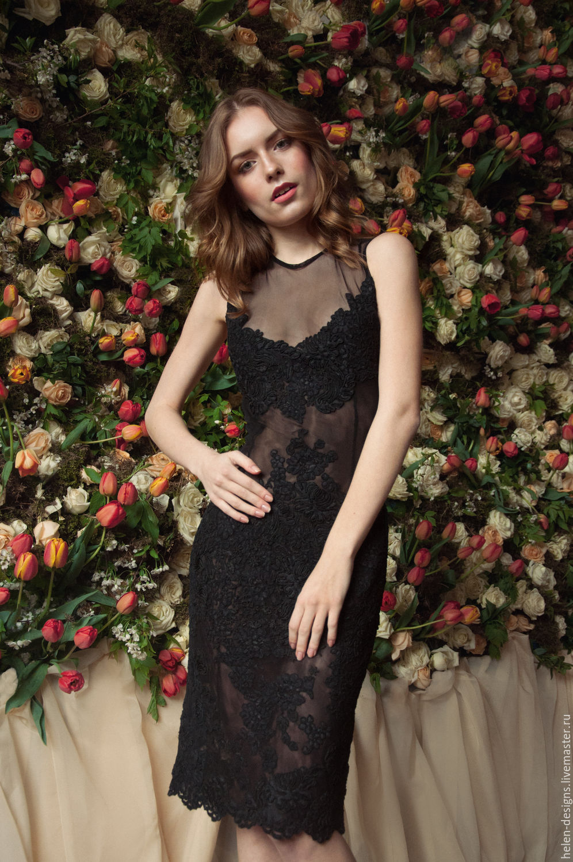 90fb5c55c11 Черное платье из сетки с кружевом – купить в интернет-магазине на ...