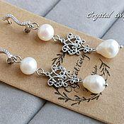 Украшения handmade. Livemaster - original item Earrings with pearls for bride. Handmade.
