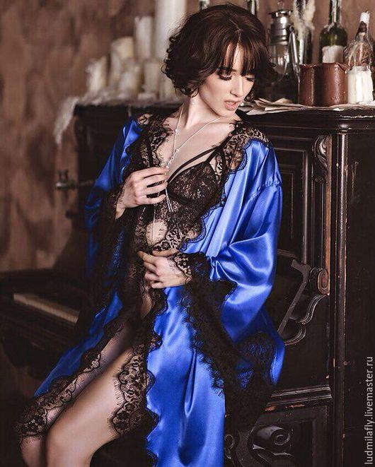 """Белье ручной работы. Ярмарка Мастеров - ручная работа. Купить """"Роскошь сапфира"""" - темно-синий комплект кимоно и сорочка. Handmade."""