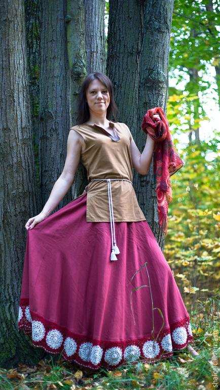 льняная юбка с кружевом, летняя юбка в пол, платья и юбки из льна ручной работы, автор Юлия Льняная сказка