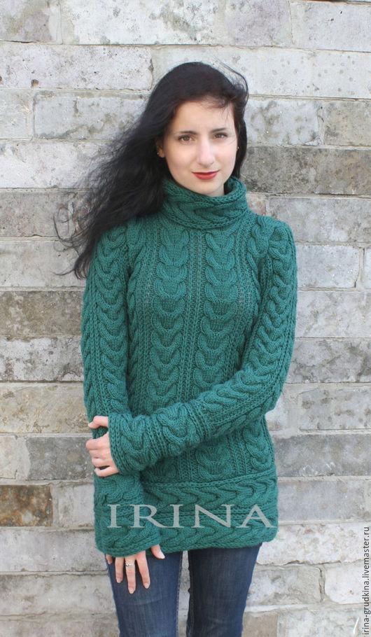 Кофты и свитера ручной работы. Ярмарка Мастеров - ручная работа. Купить Свитер-туника косами. Handmade. Тёмно-зелёный