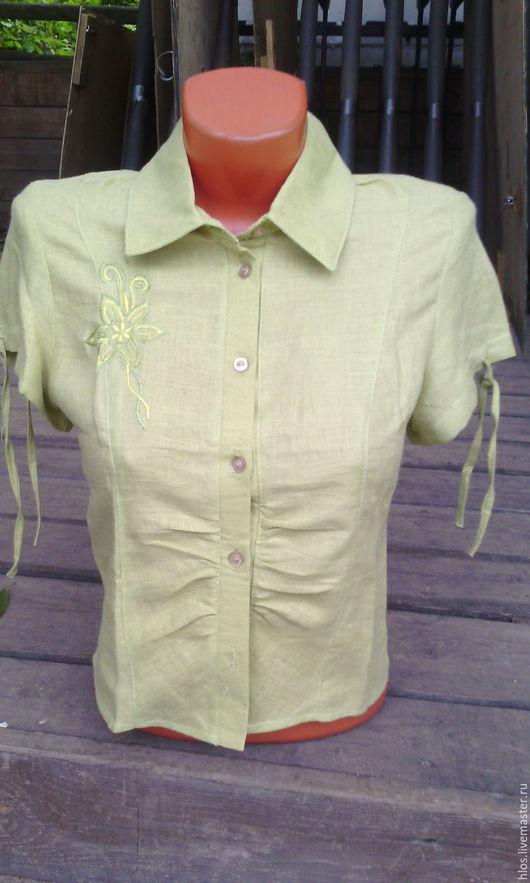 Блузки ручной работы. Ярмарка Мастеров - ручная работа. Купить блузка льняная. Handmade. Салатовый, для отдыха