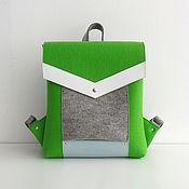 Ярко-зеленый с серым рюкзак из фетра и натуральной кожи