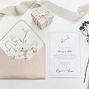 Свадебный салон ручной работы. Ярмарка Мастеров - ручная работа Приглашение на свадьбу с конвертом ПР-112. Handmade.