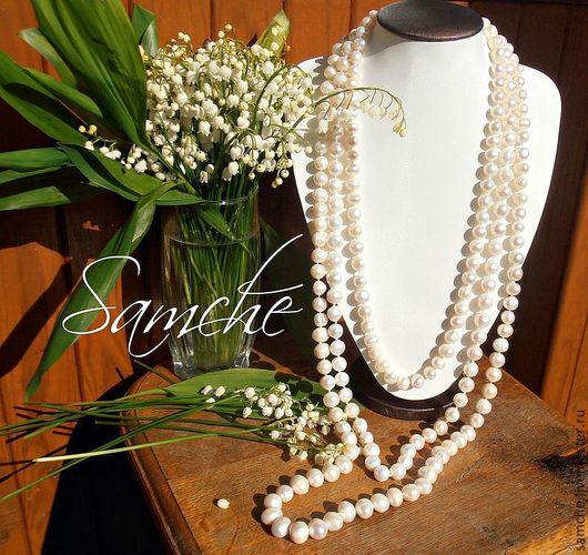 """Ожерелье """"Королевская роскошь"""" к ожерелью есть браслет. Шикарное ожерелье в три нити из высококачественного отборного культивированного жемчуга формы полу-барокко ,  колличество жемчужин в"""