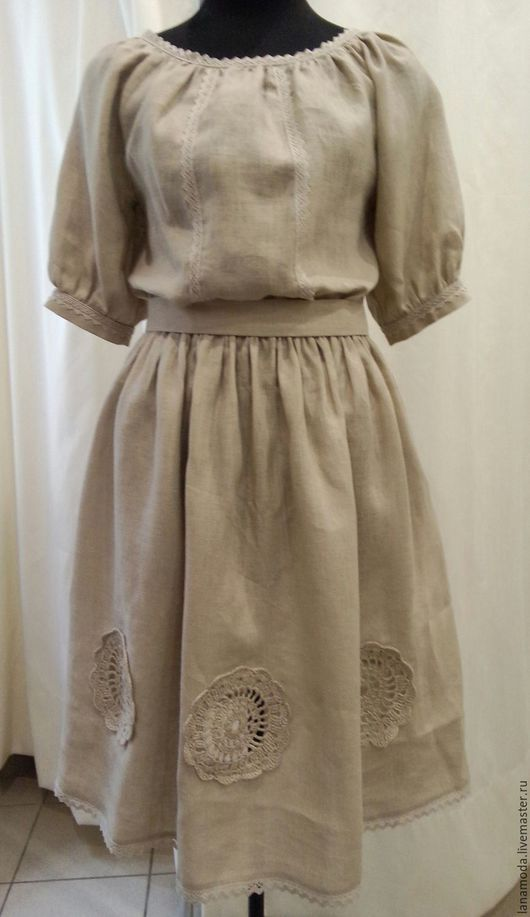 Этническая одежда ручной работы. Ярмарка Мастеров - ручная работа. Купить Женское платье с натурального льна. Handmade. Бежевый