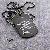 Украшения handmade. Livemaster - original item Engraved badge-stainless steel. Handmade.
