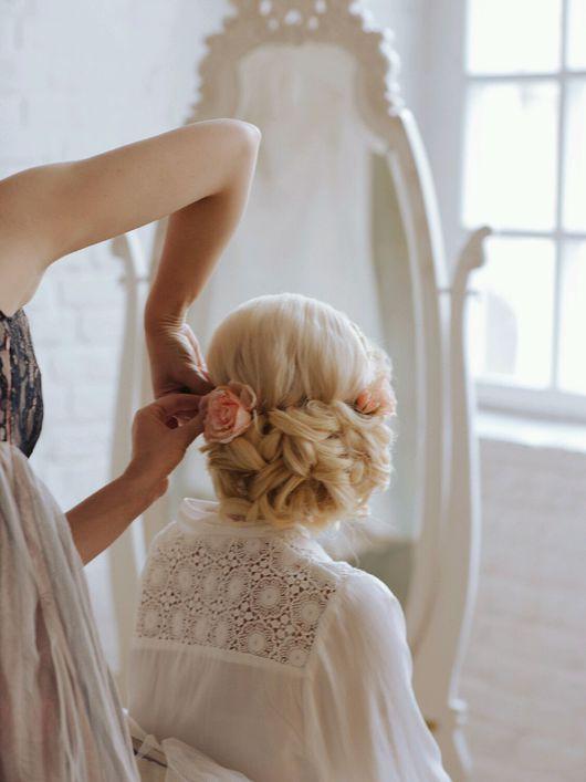 Свадебные украшения ручной работы. Ярмарка Мастеров - ручная работа. Купить Кустовая Роза. Handmade. Бежевый, для невесты, кремовый персиковый