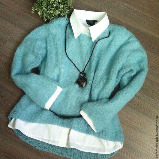 Кофты и свитера ручной работы. Ярмарка Мастеров - ручная работа. Купить Пуловер женский. Handmade. Голубой, пуловер вязаный