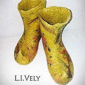 Тапочки ручной работы. Ярмарка Мастеров - ручная работа Валяные сапожки для дома. Handmade.
