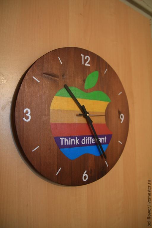 Часы для дома ручной работы. Ярмарка Мастеров - ручная работа. Купить Часы с обратным ходом iWoodWatch. Handmade. Разноцветный, макинтош