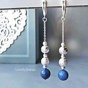 Украшения handmade. Livemaster - original item Earrings long on chains with lapis lazuli. Handmade.