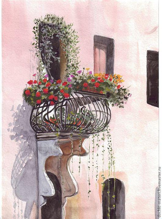 """Пейзаж ручной работы. Ярмарка Мастеров - ручная работа. Купить картина """"Римский балкончик"""". Handmade. Балкон, цветы, солнце, рим"""