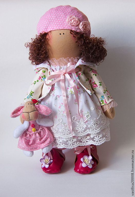 Коллекционные куклы ручной работы. Ярмарка Мастеров - ручная работа. Купить текстильная кукла. Handmade. Бледно-розовый, овечка, платье