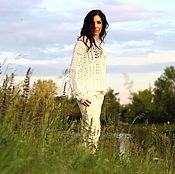 Одежда handmade. Livemaster - original item Hand knit white cotton sweater. Handmade.