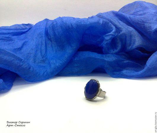 """Кольца ручной работы. Ярмарка Мастеров - ручная работа. Купить СКИДКА 10%Кольцо""""Синее Море""""украшения стекло витраж ручная работа. Handmade."""