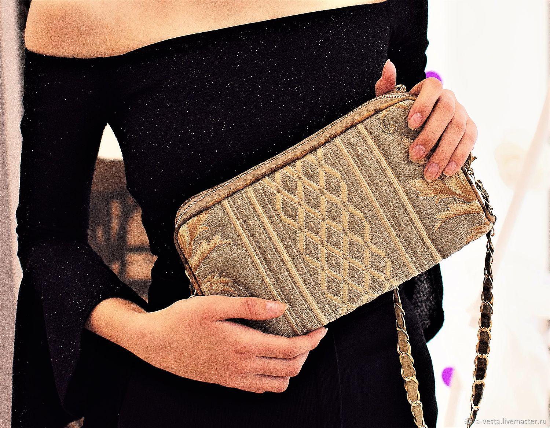 Women's handbag, Adele, clutch, tapestry, Clutches, Saratov,  Фото №1