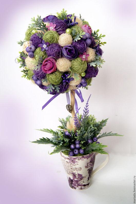 """Топиарии ручной работы. Ярмарка Мастеров - ручная работа. Купить Топиарий """"Фиолет"""". Handmade. Тёмно-фиолетовый, топиарий дерево счастья"""