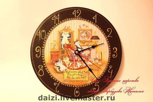 Часы для дома ручной работы. Ярмарка Мастеров - ручная работа. Купить Часы Кошачье царство. Handmade. Часы, часы декупаж