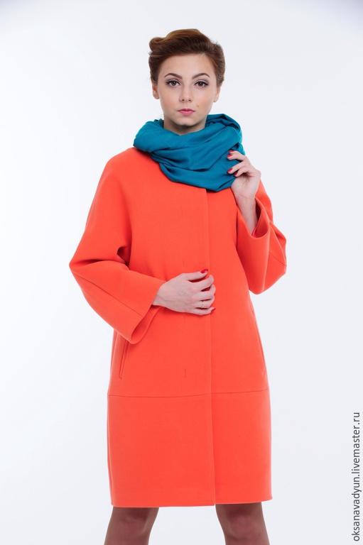 Верхняя одежда ручной работы. Ярмарка Мастеров - ручная работа. Купить Пальто демисезонное Gentle Lady. Handmade. Коралловый, кашемир