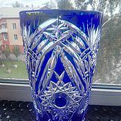 БРОНЬ.Винтажная ваза,цветной хрусталь.завод Красный Гигант,СССР.