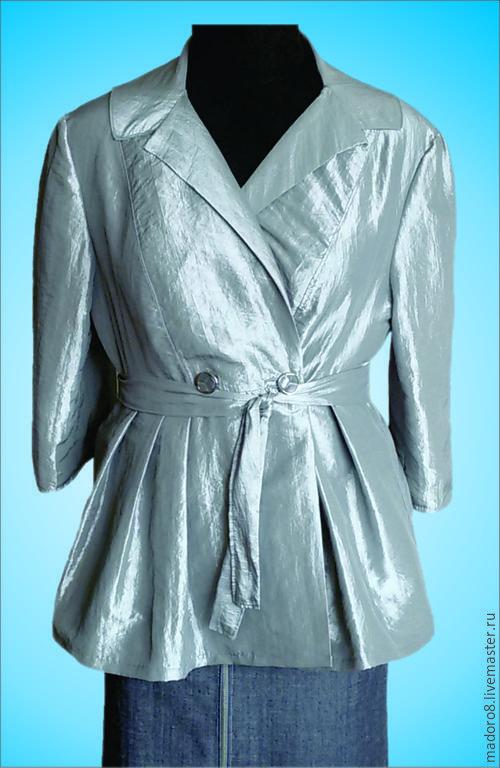 Верхняя одежда ручной работы. Ярмарка Мастеров - ручная работа. Купить Серебристый плащ. Handmade. Серебряный, Джинсовая ткань