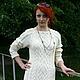 Платья ручной работы. Ярмарка Мастеров - ручная работа. Купить платье вязанное спицами косами и аранами. Handmade. Белый, шерсть
