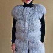 Одежда ручной работы. Ярмарка Мастеров - ручная работа Длинный шикарный жилет из ламы светло-серый. Handmade.