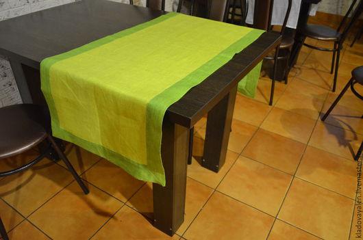 Дорожка жаккардовая однотонная с ярко зеленым бордюром 100% лен 53*150