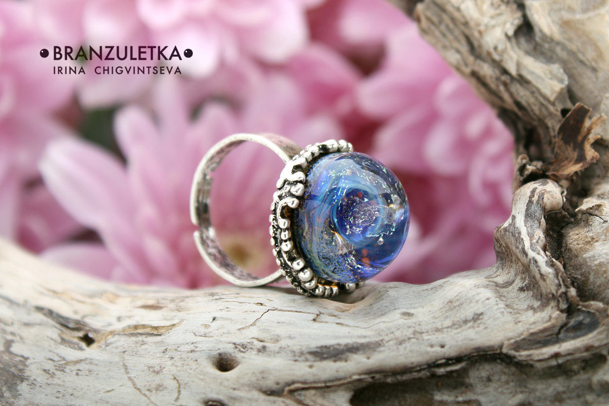 Galaxy mini - ring artisan glass cabochon lampwork - without size ...